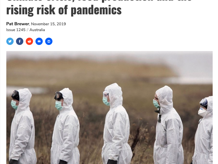 Climate crisis, food production and the rising risk of pandemics
